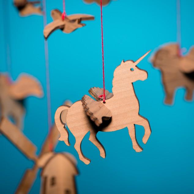 Detailansicht Einhorn - Mobile aus Tieren