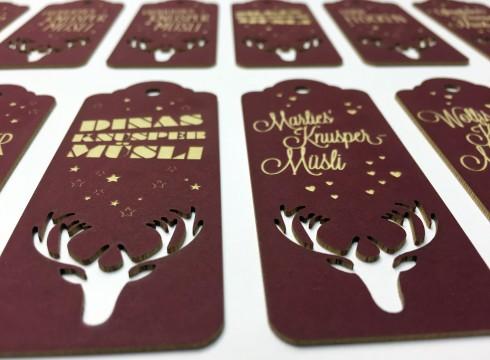 personalisierte Geschenksanhänger aus kaschiertem Karton